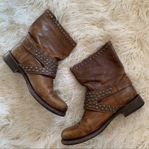 Frye Leather Boots Studded Details Women's 10